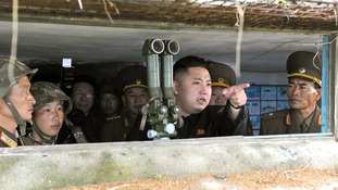 North Korean leader Kim Jong-Un visits a military unit on an island southwest of Pyongyang in August 2012.