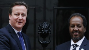 David Cameron with the President of Somalia, Hassan Sheik Mohamud in February this year.