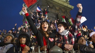 Supporters celebrate Hollande's election as the first socialist president for 18 years.