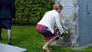 The Countess of Wessex placed a wreath at the memorial at the National Arboretum Centre