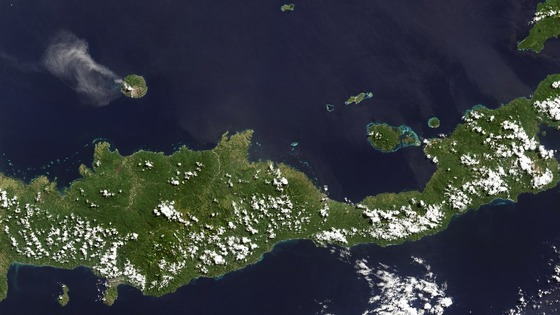 The volcano on the five-mile-wide island has been spewing ash in recent months