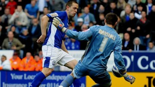 Leicester City's Matthew Fryatt misses his side's best chance of the game.