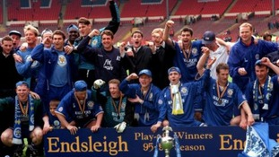 Leicester City celebrate promotion to the Premier League