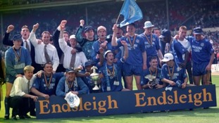 Leicester City celebrate reaching the Premier League after beating Derby County.