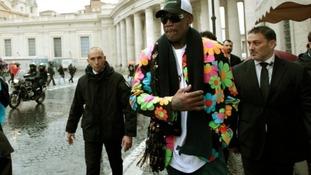Former NBA star Dennis Rodman visits the Vatican.