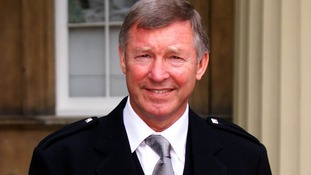 Alex Ferguson on the day he received a knighthood from the Queen