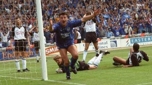 Leicester City's Steve Walsh celebrates scoring his second goal in the Play-off Final