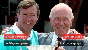 Graphic showing Sir Alex Ferguson having managed 1,498 games and Sir Matt Busby managing 1,141