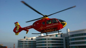 The Midlands Air Ambulance coming into land at the Queen Elizabeth Hospital in Birmingham