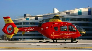 The Midlands Air Ambulance on the helipad at the Queen Elizabeth Hospital
