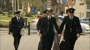 Fire officers arriving at Stafford Crown Court today