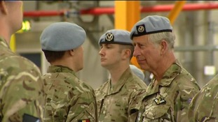 Prince Charles on his visit at Wattisham Airfield in Suffolk