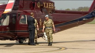 Prince Charles arrives at Wattisham Airfield in Suffolk