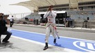 Lewis Hamilton at today's practice session in Bahrain.