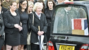 Mourners, family and friends including Lyndsey Savage