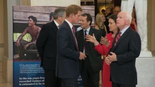 Prince Harry meets Senator John McCain of Arizona.