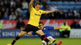 Leicester City's Anthony Knockaert and Watford's Jonathan Hogg collide