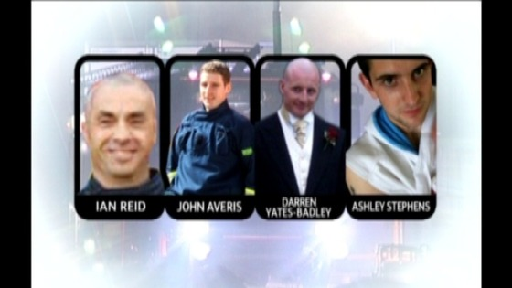 Four Warwickshire firefighters who died in November 2007