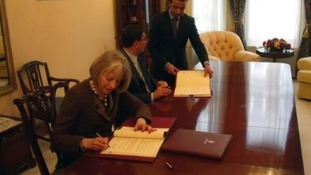The Home Secretary with the Jordanian Ambassador to the UK