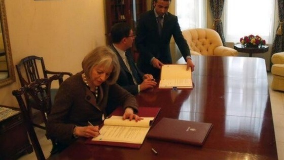 The Home Secretary with the Jordanian Ambassador to the UK