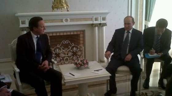 David Cameron meeting with Vladmir Putin