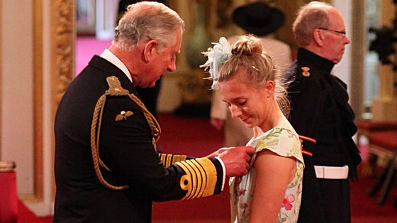 Olympic rower Katherine Copeland receives her MBE Prince of Wales.