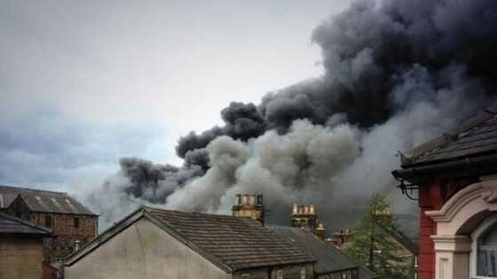 Smoke rises after the reported explosions in Belper, Derbyshire