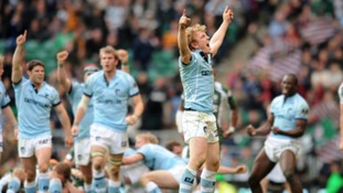 Leicester Tigers' Sam Vesty celebrates at the final whistle