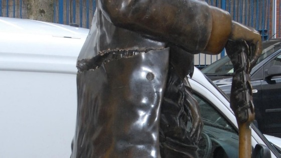 Police believe two men, thought to be in their 20s, pushed the statue over