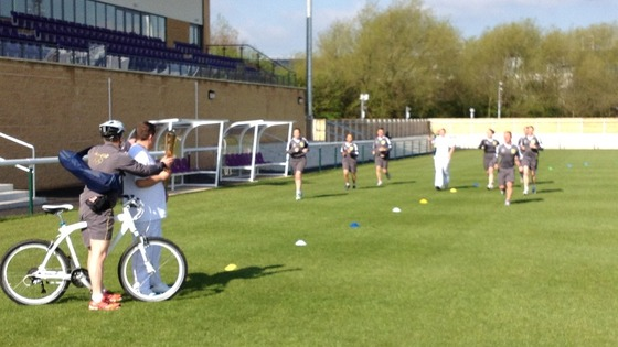 The torch arrives at Loughborough University this morning. It's just a test event so there is no flame yet.
