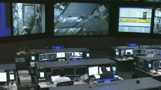 The NASA control centre prepares to guide the astronauts