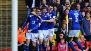 Leicester City's David Nugent celebrates with his team mates after scoring his first goal of the game