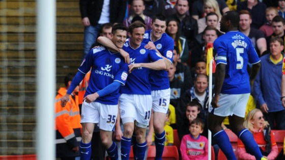 Leicester City&#x27;s David Nugent celebrates with his team mates after scoring his first goal of the game
