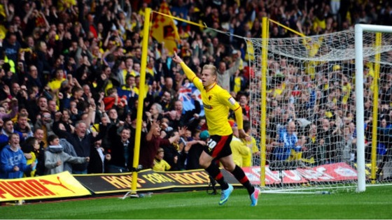Watford&#x27;s Matej Vydra celebrates his second goal of the game