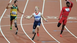 Great Britain's Jonnie Peacock wins the Men's 100m - T44 Final, during the Paralympic Games