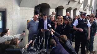 Tia Sharp's father, Steven Carter, reads a statement to reporters outside the Old Bailey