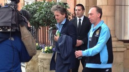 Mancini leaving the team hotel in London this morning
