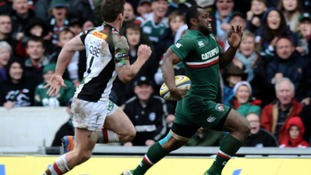 Leicester Tigers' Vereniki Goneva runs in to score their first try