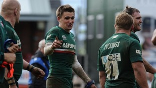 Leicester Tigers' Captain Toby Flood celebrates after beating Harlequins at the end of the match