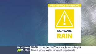 weather warning for Tuesday