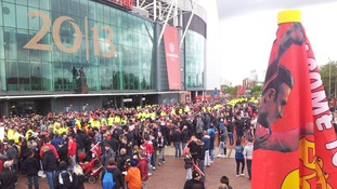 The crowds at Old Trafford ahead of this evening's parade