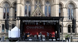 The Courteeners sound check in Albert Square before the victory parade