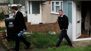 Stuart Hazel leaving the home of Tia's grandmother in August 2012