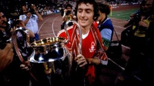 Nottingham Forest&#x27;s Trevor Francis, scorer of the winning goal, takes a closer look at the European Cup