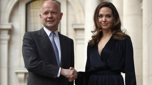 William Hague and Angelina Jolie t
