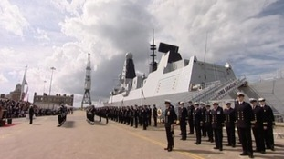 HMS Dragon and crew at Portsmouth