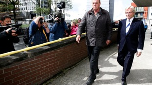 Coronation Street actor Bill Roach (right) leaves Preston Magistrates' Court