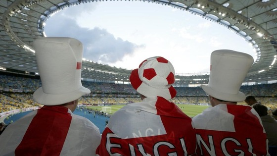 England fans watch their team play in Sweden