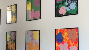 Andy Warhol paintings in the entrance to Durham Law school.