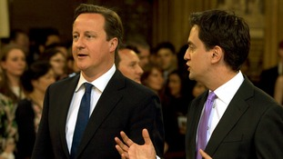 David Cameron and Ed Miliband attend the Queen's speech
